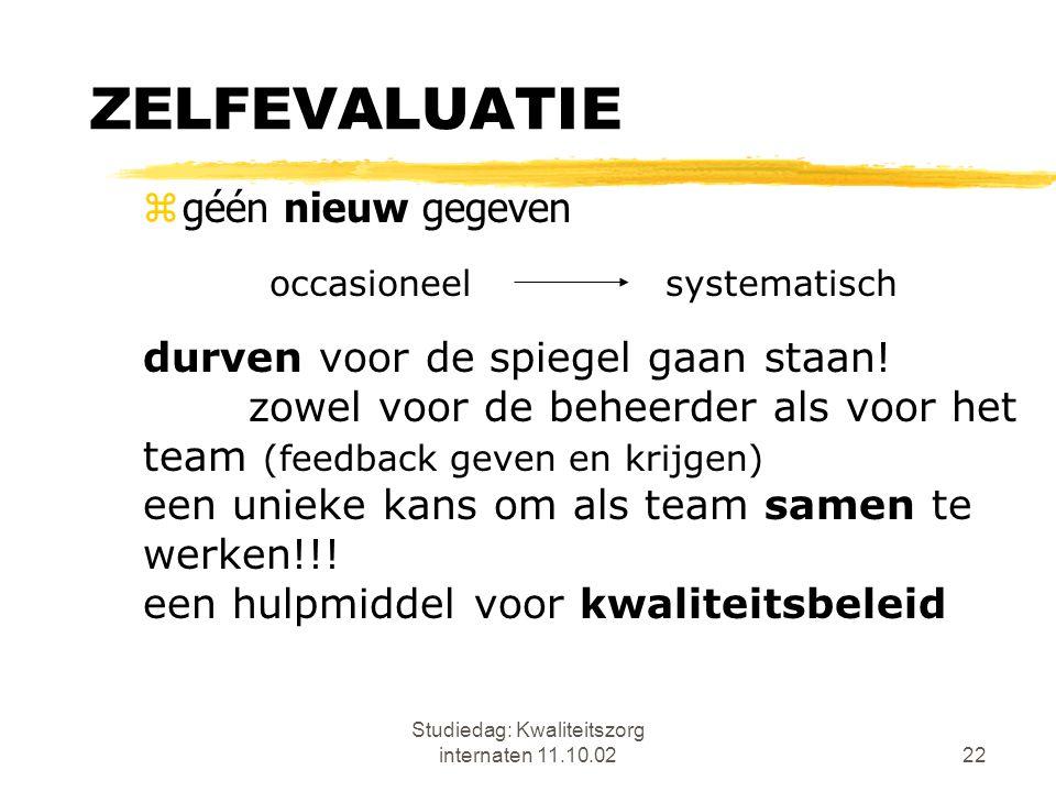 Studiedag: Kwaliteitszorg internaten 11.10.0222 ZELFEVALUATIE zgéén nieuw gegeven durven voor de spiegel gaan staan! zowel voor de beheerder als voor