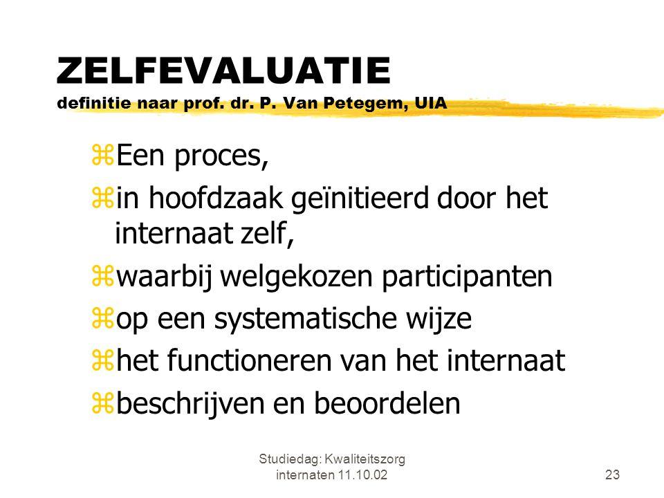 Studiedag: Kwaliteitszorg internaten 11.10.0223 ZELFEVALUATIE definitie naar prof. dr. P. Van Petegem, UIA zEen proces, zin hoofdzaak geïnitieerd door