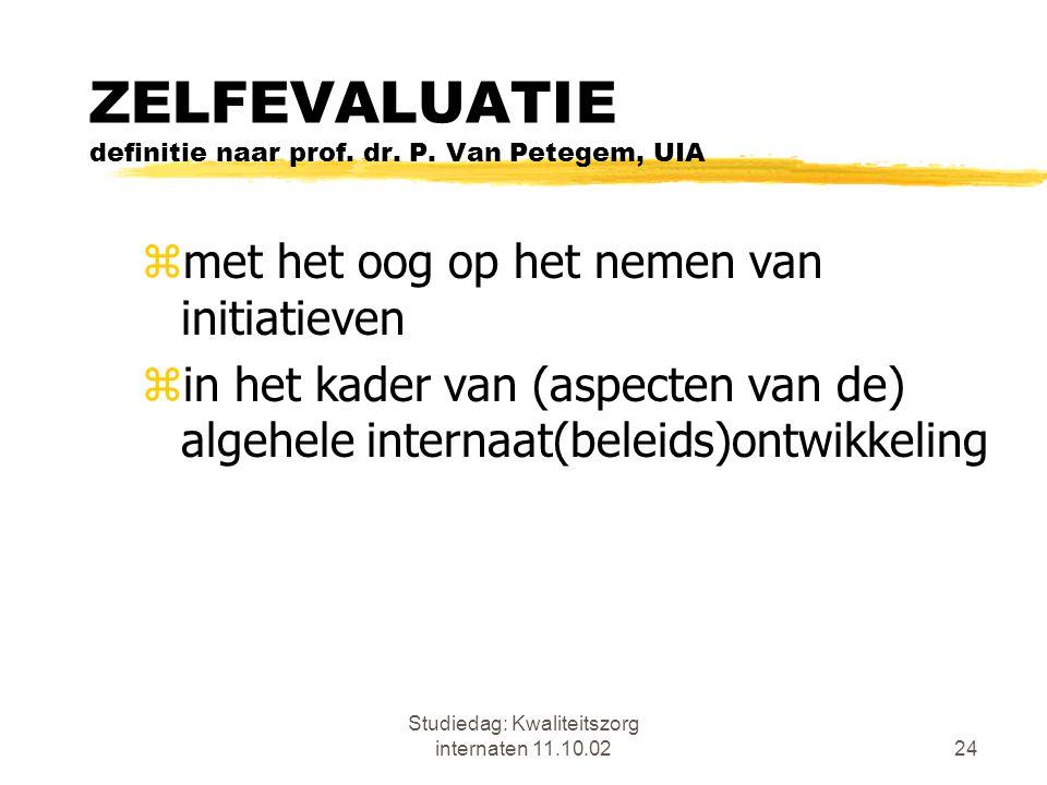 Studiedag: Kwaliteitszorg internaten 11.10.0224 ZELFEVALUATIE definitie naar prof. dr. P. Van Petegem, UIA zmet het oog op het nemen van initiatieven