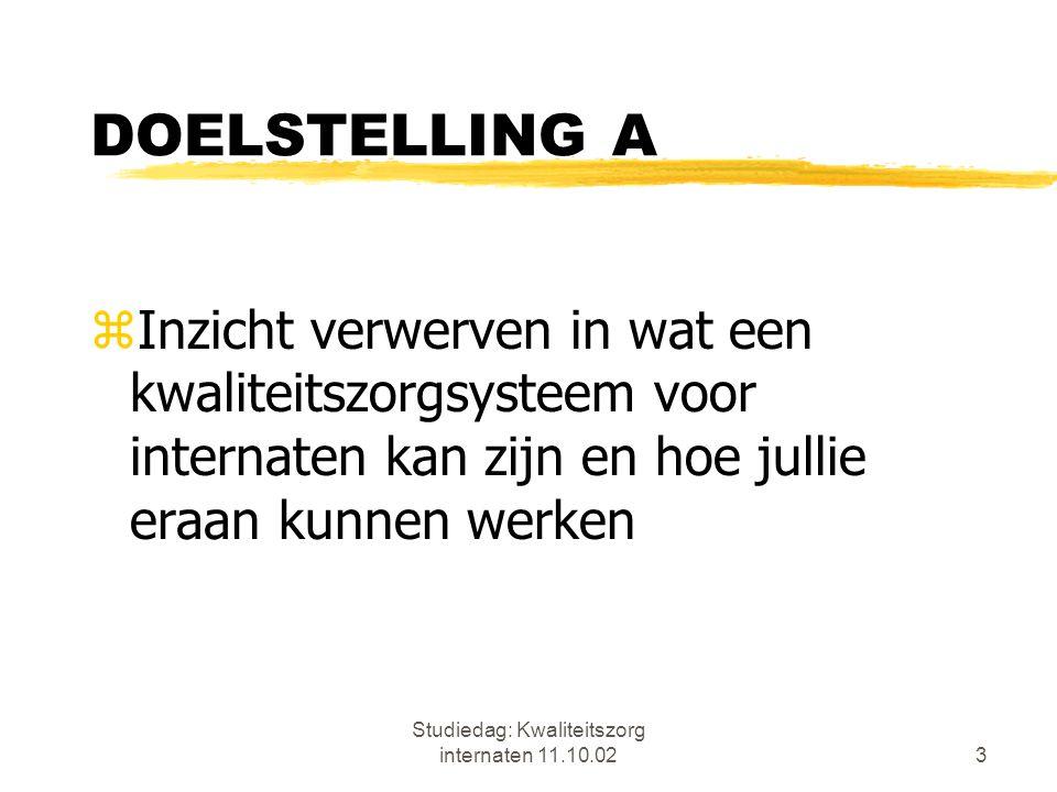 Studiedag: Kwaliteitszorg internaten 11.10.0214 WAT IS KWALITEITSZORG.