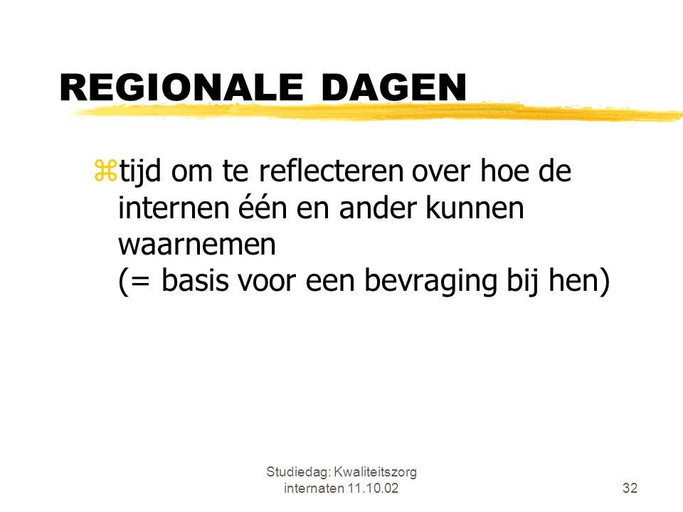 Studiedag: Kwaliteitszorg internaten 11.10.0232 REGIONALE DAGEN ztijd om te reflecteren over hoe de internen één en ander kunnen waarnemen (= basis vo