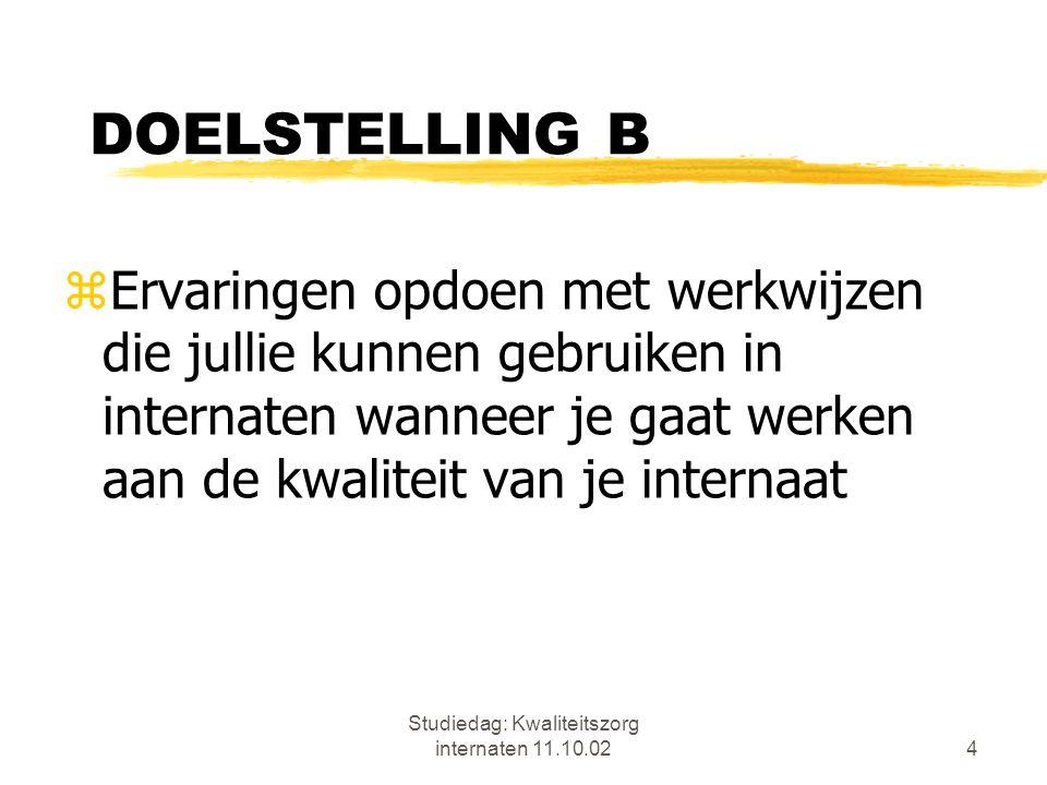 Studiedag: Kwaliteitszorg internaten 11.10.024 DOELSTELLING B zErvaringen opdoen met werkwijzen die jullie kunnen gebruiken in internaten wanneer je g