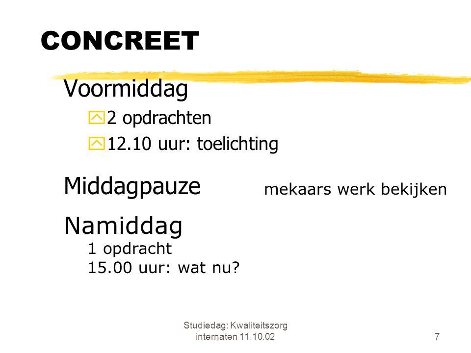 Studiedag: Kwaliteitszorg internaten 11.10.028 CONCREET zMijn taak: ondersteuning