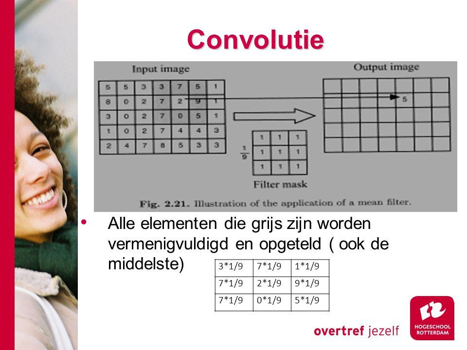 # Convolutie Alle elementen die grijs zijn worden vermenigvuldigd en opgeteld ( ook de middelste) 3*1/97*1/91*1/9 7*1/92*1/99*1/9 7*1/90*1/95*1/9