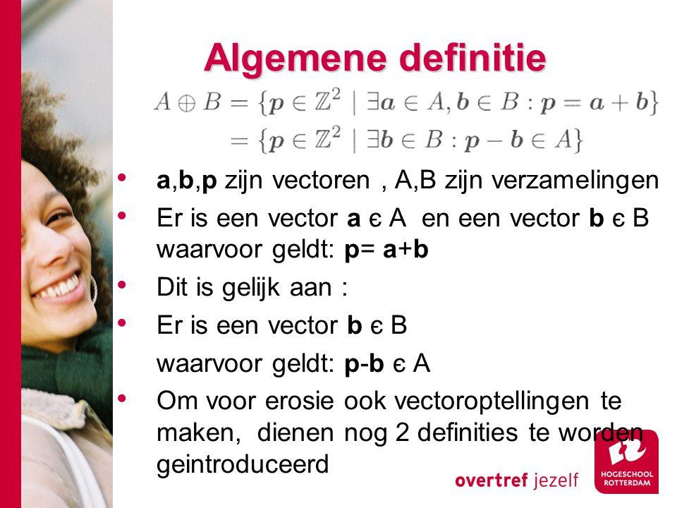 # Algemene definitie a,b,p zijn vectoren, A,B zijn verzamelingen Er is een vector a є A en een vector b є B waarvoor geldt: p= a+b Dit is gelijk aan :