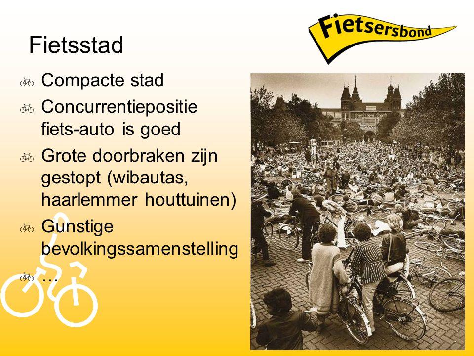 Fietsstad  Compacte stad  Concurrentiepositie fiets-auto is goed  Grote doorbraken zijn gestopt (wibautas, haarlemmer houttuinen)  Gunstige bevolk