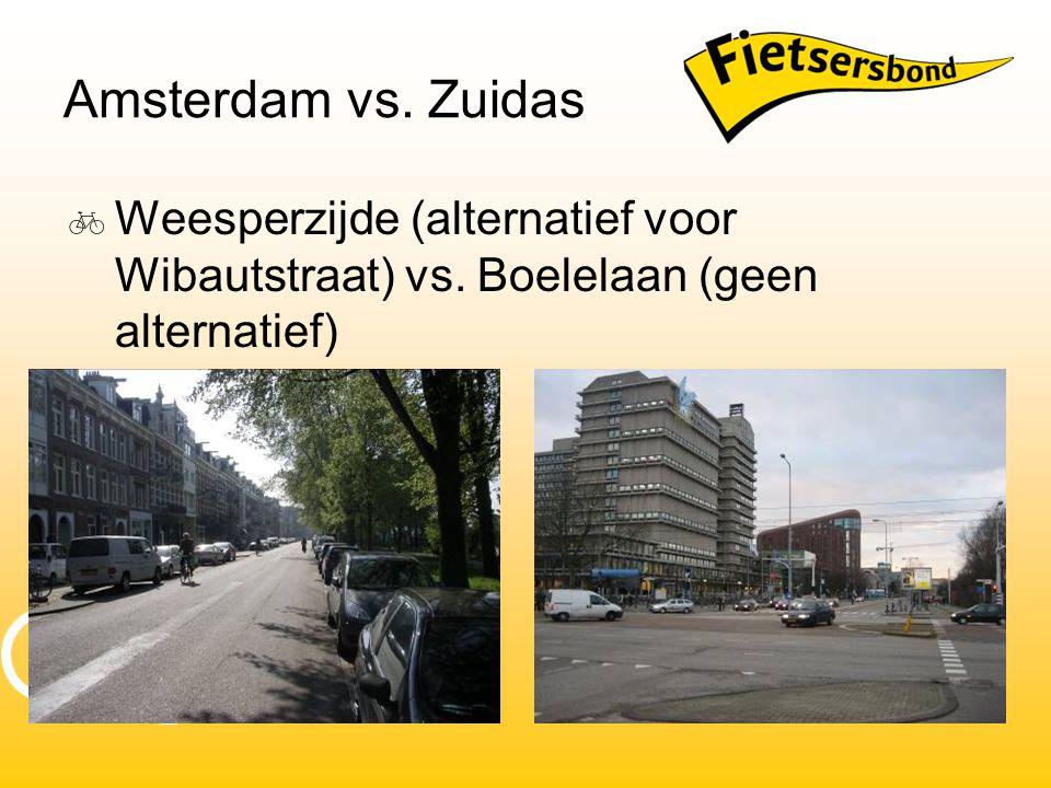 Amsterdam vs. Zuidas  Weesperzijde (alternatief voor Wibautstraat) vs. Boelelaan (geen alternatief)
