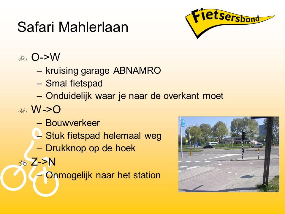 Safari Mahlerlaan  O->W –kruising garage ABNAMRO –Smal fietspad –Onduidelijk waar je naar de overkant moet  W->O –Bouwverkeer –Stuk fietspad helemaal weg –Drukknop op de hoek  Z->N –Onmogelijk naar het station