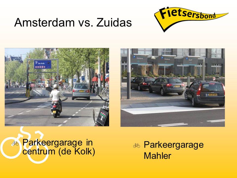 Amsterdam vs. Zuidas  Parkeergarage in centrum (de Kolk)  Parkeergarage Mahler