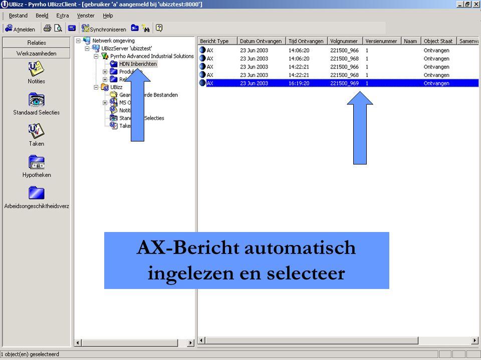 Pyrrho Advanced Industry Solutions B.V. AX-Bericht automatisch ingelezen en selecteer