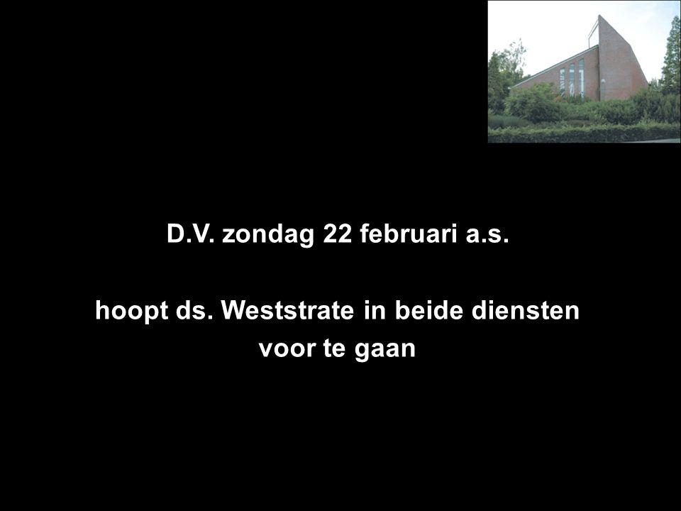D.V. zondag 22 februari a.s. hoopt ds. Weststrate in beide diensten voor te gaan