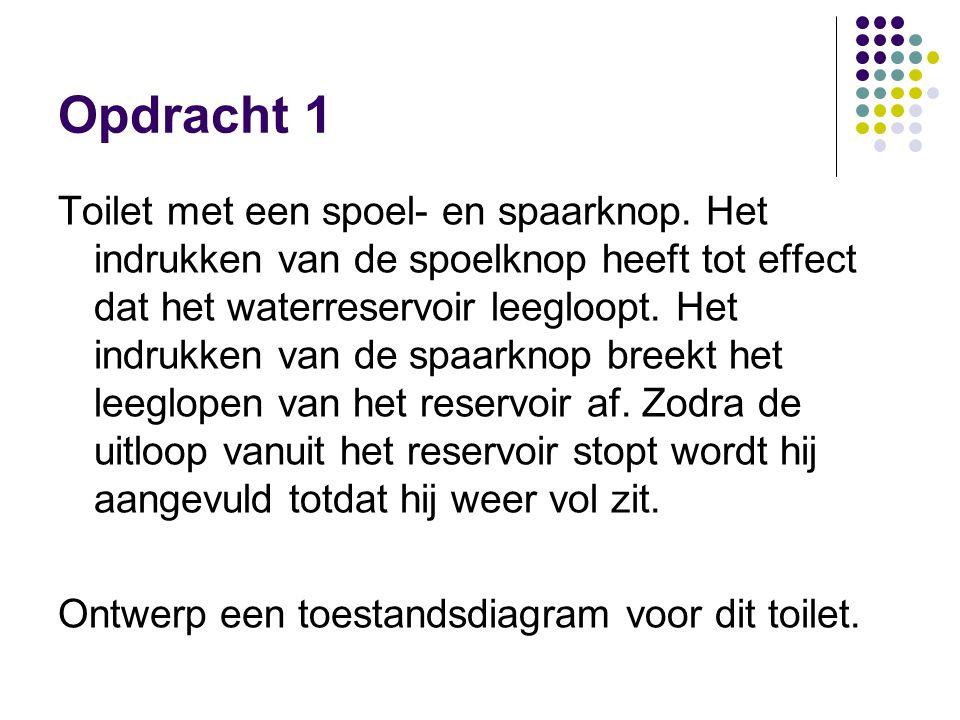 Opdracht 1 Toilet met een spoel- en spaarknop. Het indrukken van de spoelknop heeft tot effect dat het waterreservoir leegloopt. Het indrukken van de