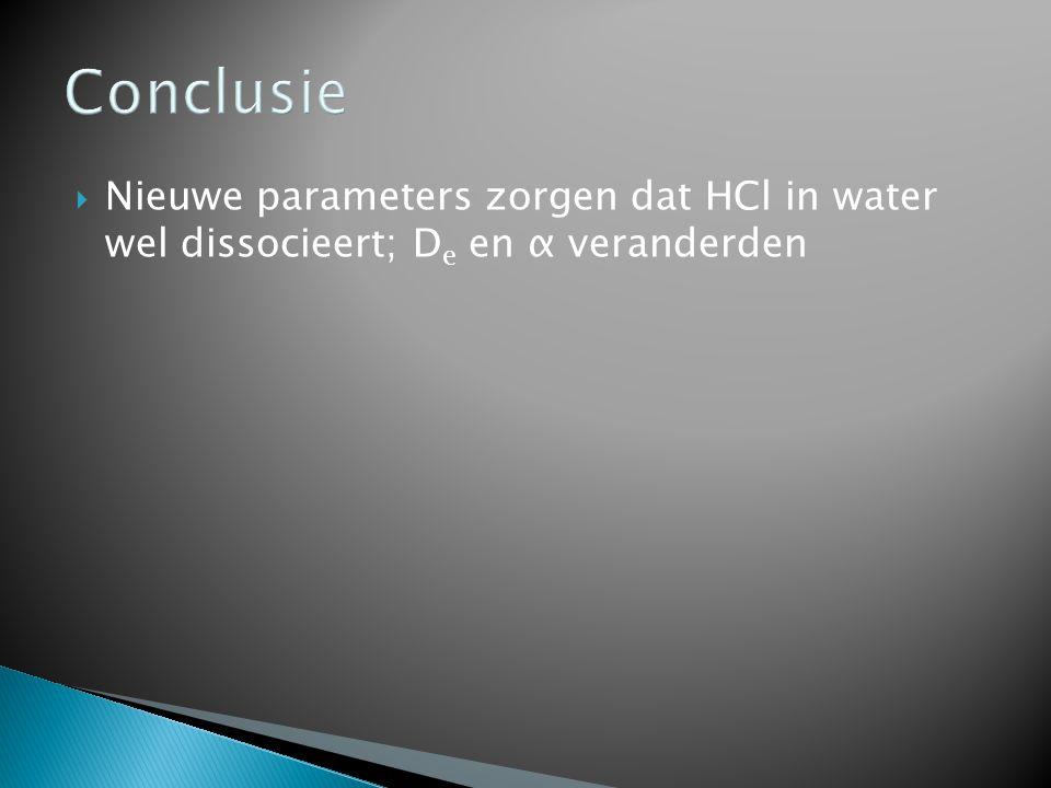 Conclusie  Nieuwe parameters zorgen dat HCl in water wel dissocieert; D e en α veranderden