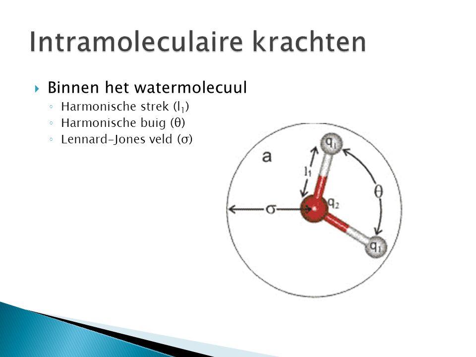  Binnen het watermolecuul ◦ Harmonische strek (l 1 ) ◦ Harmonische buig (θ) ◦ Lennard-Jones veld (σ)