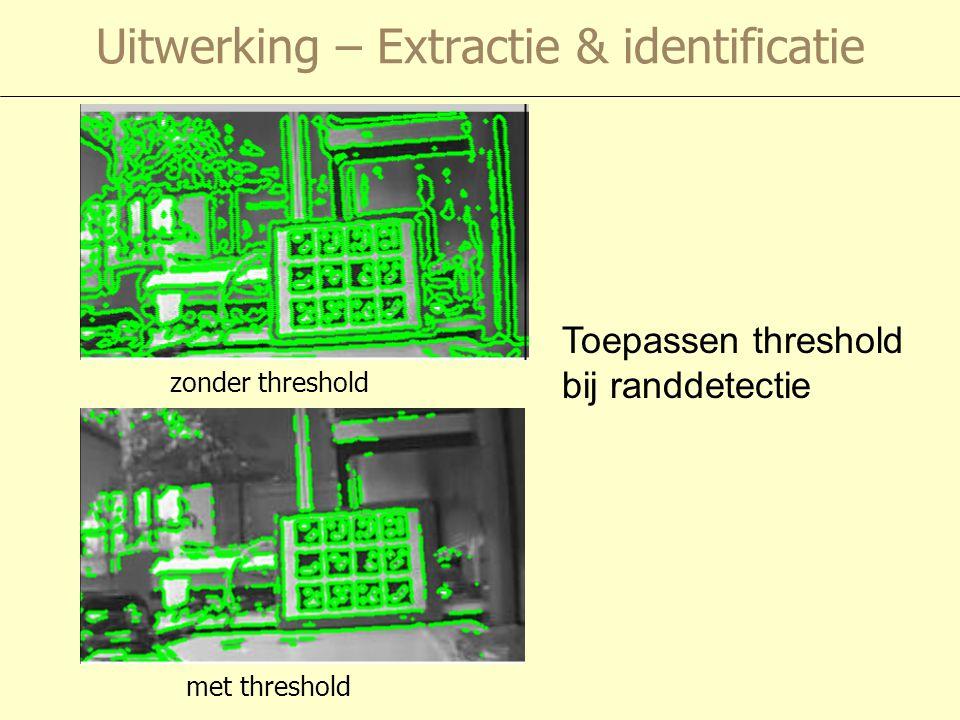 Uitwerking – Extractie & identificatie Toepassen threshold bij randdetectie zonder threshold met threshold