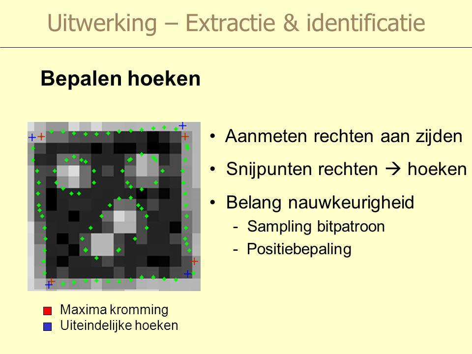 Uitwerking – Extractie & identificatie Bepalen hoeken Maxima kromming Uiteindelijke hoeken Aanmeten rechten aan zijden Snijpunten rechten  hoeken Belang nauwkeurigheid - Sampling bitpatroon - Positiebepaling