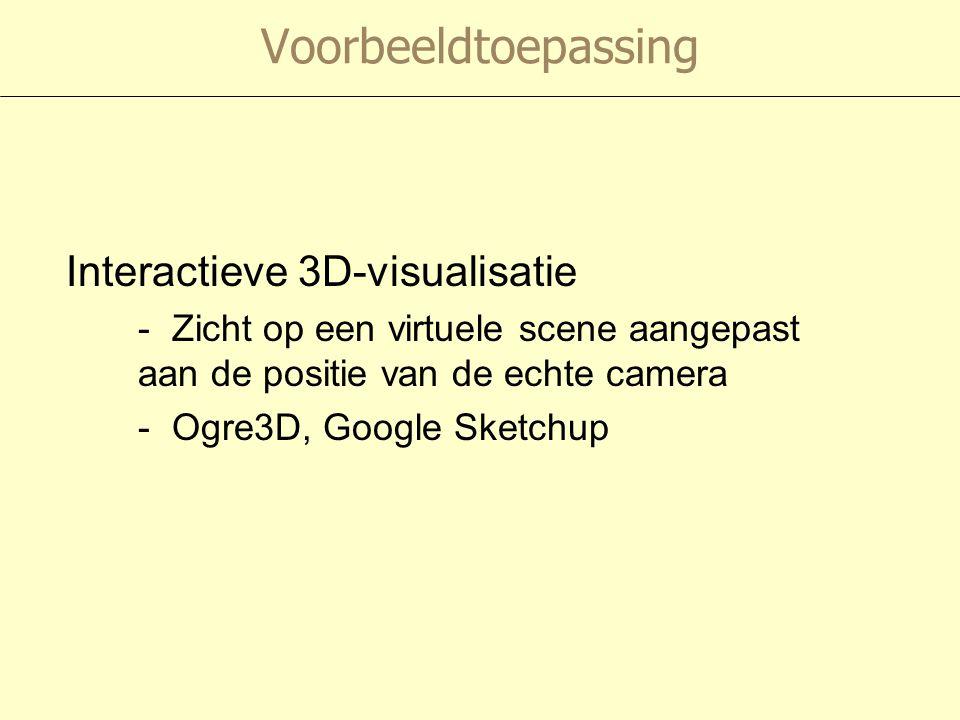 Voorbeeldtoepassing Interactieve 3D-visualisatie - Zicht op een virtuele scene aangepast aan de positie van de echte camera - Ogre3D, Google Sketchup