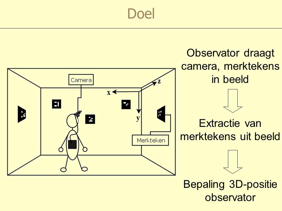 Observator draagt camera, merktekens in beeld Extractie van merktekens uit beeld Bepaling 3D-positie observator Doel