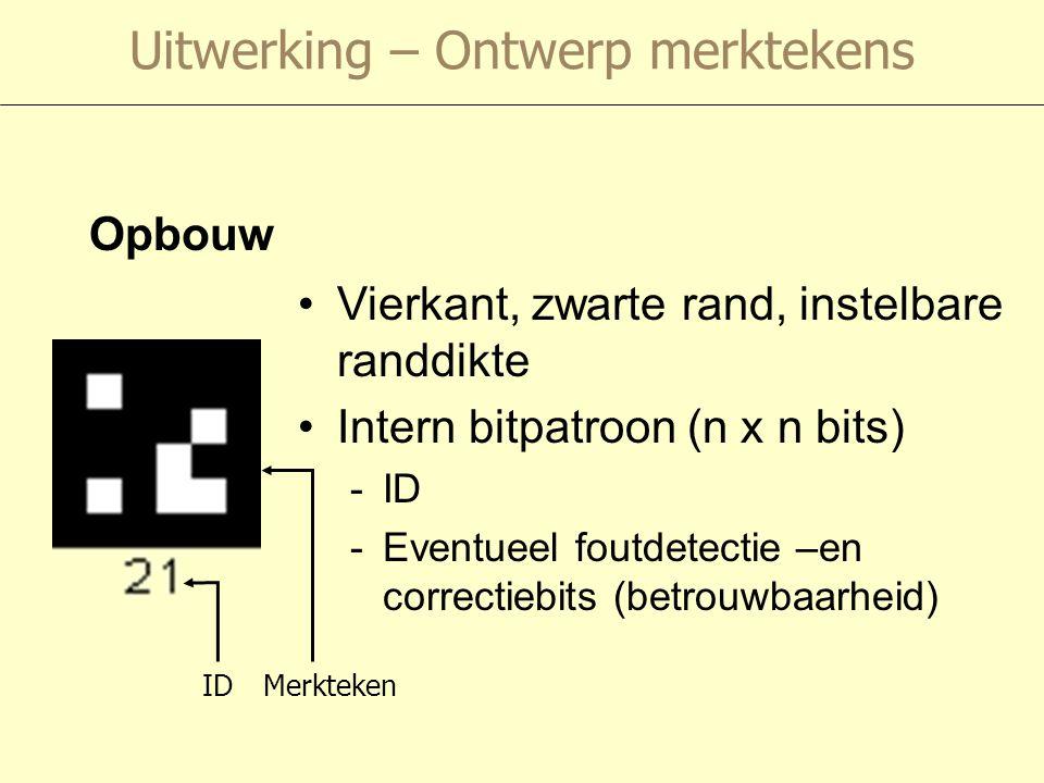 Uitwerking – Ontwerp merktekens Opbouw Vierkant, zwarte rand, instelbare randdikte Intern bitpatroon (n x n bits) -ID -Eventueel foutdetectie –en correctiebits (betrouwbaarheid) IDMerkteken