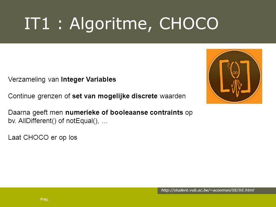 Pag. IT1 : Algoritme, CHOCO http://student.vub.ac.be/~acooman/SE/SE.html Verzameling van Integer Variables Continue grenzen of set van mogelijke discr