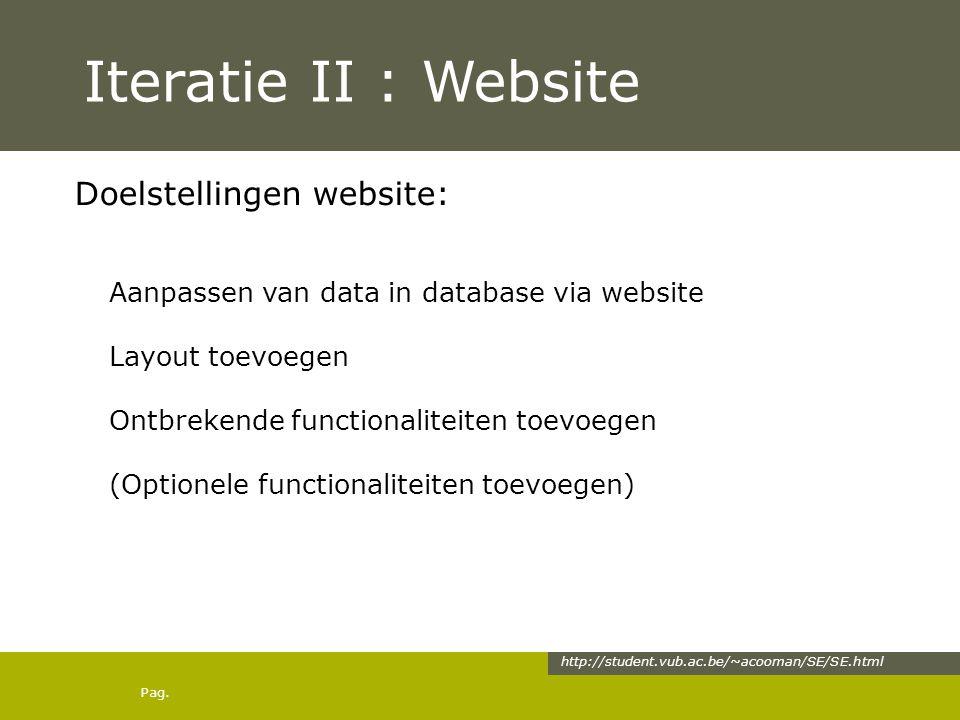 Pag. Iteratie II : Website Doelstellingen website: Aanpassen van data in database via website Layout toevoegen Ontbrekende functionaliteiten toevoegen