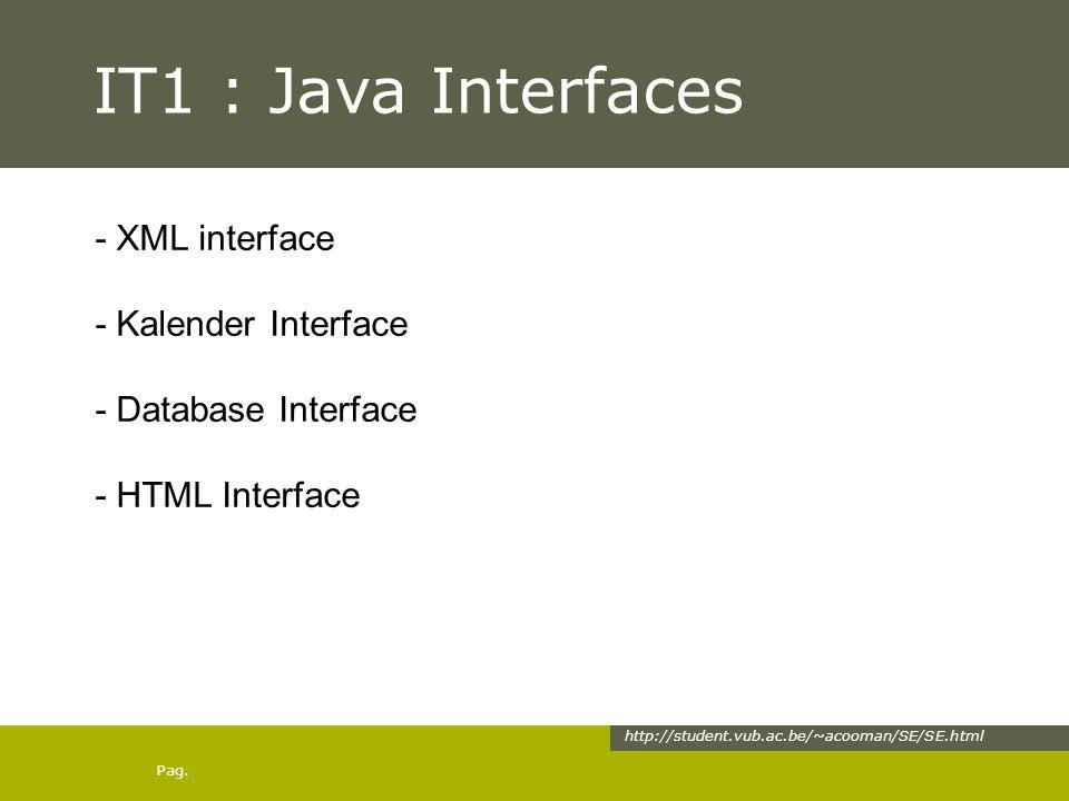 Pag. IT1 : Java Interfaces http://student.vub.ac.be/~acooman/SE/SE.html - XML interface - Kalender Interface - Database Interface - HTML Interface