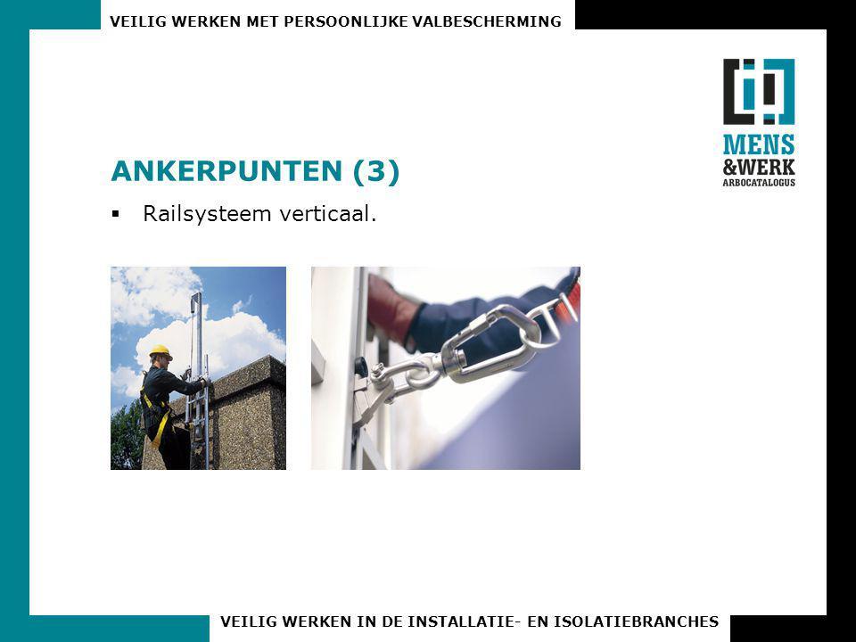 VEILIG WERKEN MET PERSOONLIJKE VALBESCHERMING VEILIG WERKEN IN DE INSTALLATIE- EN ISOLATIEBRANCHES ANKERPUNTEN (3)  Railsysteem verticaal.