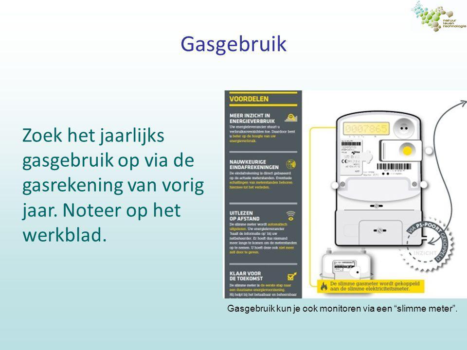 """Gasgebruik Zoek het jaarlijks gasgebruik op via de gasrekening van vorig jaar. Noteer op het werkblad. Gasgebruik kun je ook monitoren via een """"slimme"""