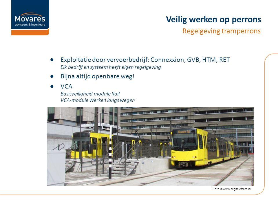 Veilig werken op perrons ●Exploitatie door vervoerbedrijf: Connexxion, GVB, HTM, RET Elk bedrijf en systeem heeft eigen regelgeving ●Bijna altijd openbare weg.