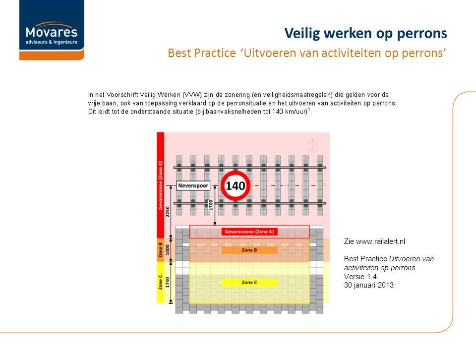 Veilig werken op perrons Best Practice 'Uitvoeren van activiteiten op perrons' Zie www.railalert.nl Best Practice Uitvoeren van activiteiten op perrons Versie 1.4 30 januari 2013