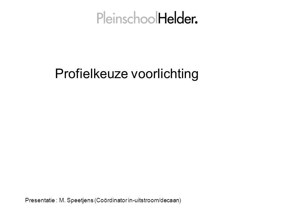 Profielkeuze voorlichting Presentatie : M. Speetjens (Coördinator in-uitstroom/decaan)