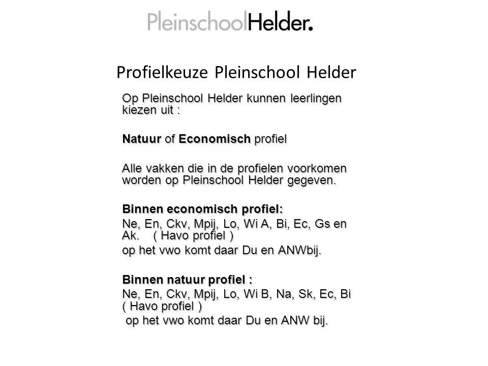 Profielkeuze Pleinschool Helder Op Pleinschool Helder kunnen leerlingen kiezen uit : Natuur of Economisch profiel Alle vakken die in de profielen voorkomen worden op Pleinschool Helder gegeven.