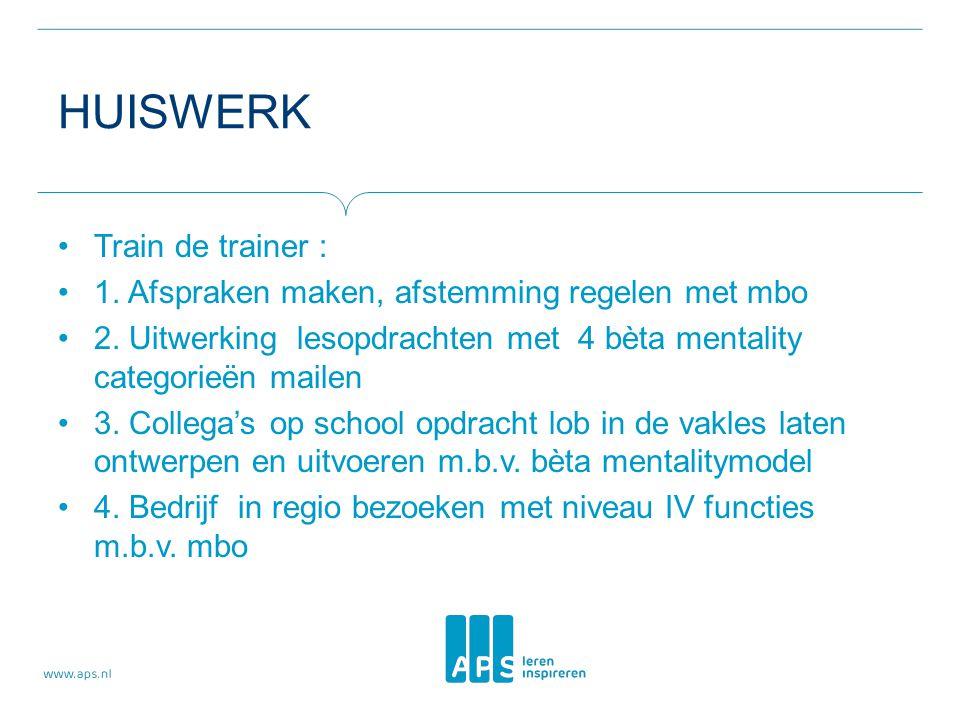 HUISWERK Train de trainer : 1. Afspraken maken, afstemming regelen met mbo 2. Uitwerking lesopdrachten met 4 bèta mentality categorieën mailen 3. Coll
