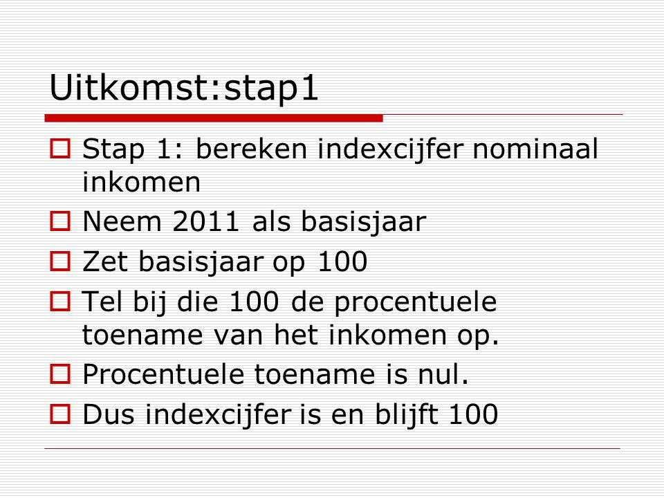 Uitkomst:stap1  Stap 1: bereken indexcijfer nominaal inkomen  Neem 2011 als basisjaar  Zet basisjaar op 100  Tel bij die 100 de procentuele toename van het inkomen op.