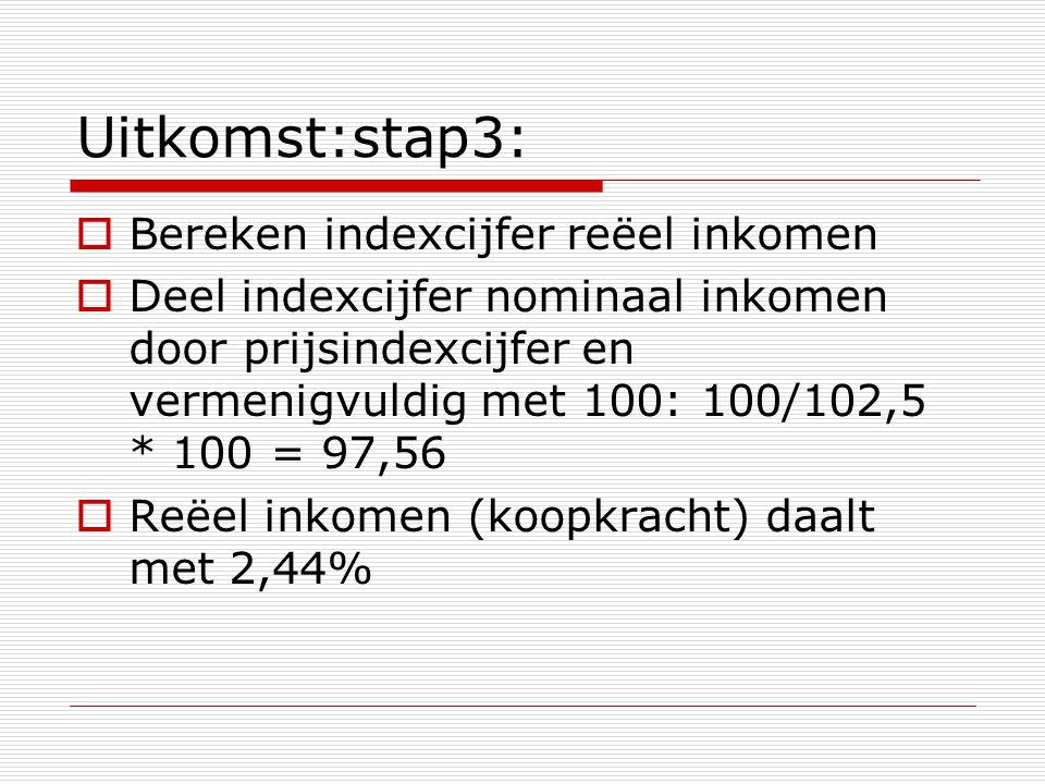 Uitkomst:stap3:  Bereken indexcijfer reëel inkomen  Deel indexcijfer nominaal inkomen door prijsindexcijfer en vermenigvuldig met 100: 100/102,5 * 100 = 97,56  Reëel inkomen (koopkracht) daalt met 2,44%