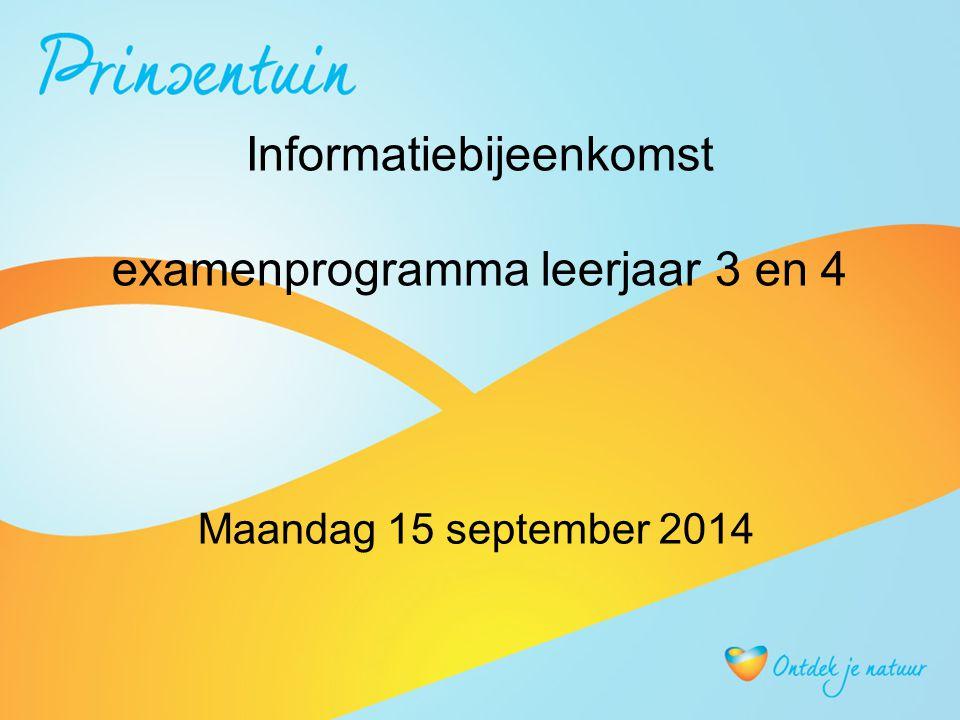Informatiebijeenkomst examenprogramma leerjaar 3 en 4 Maandag 15 september 2014