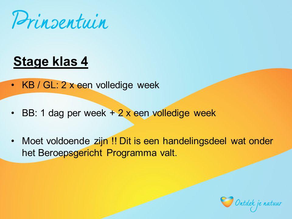 Stage klas 4 KB / GL: 2 x een volledige week BB: 1 dag per week + 2 x een volledige week Moet voldoende zijn !! Dit is een handelingsdeel wat onder he