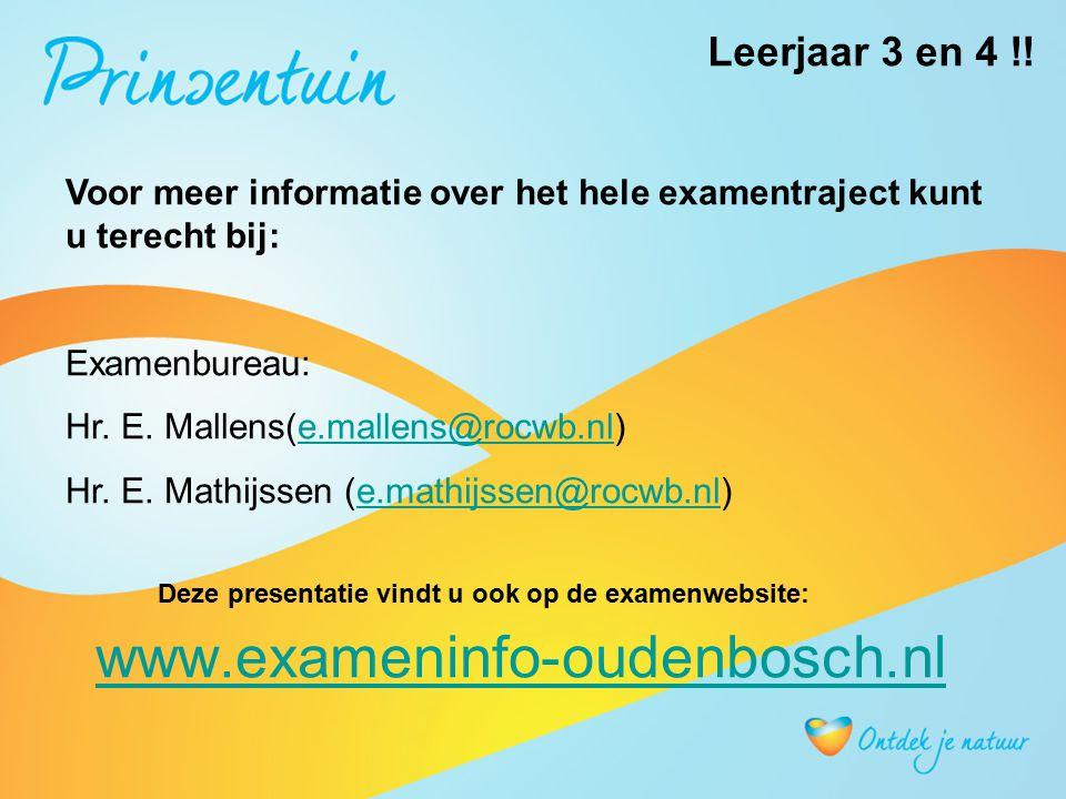 www.exameninfo-oudenbosch.nl Voor meer informatie over het hele examentraject kunt u terecht bij: Examenbureau: Hr. E. Mallens(e.mallens@rocwb.nl)e.ma