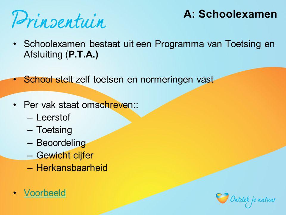 Schoolexamen bestaat uit een Programma van Toetsing en Afsluiting (P.T.A.) School stelt zelf toetsen en normeringen vast Per vak staat omschreven:: –L