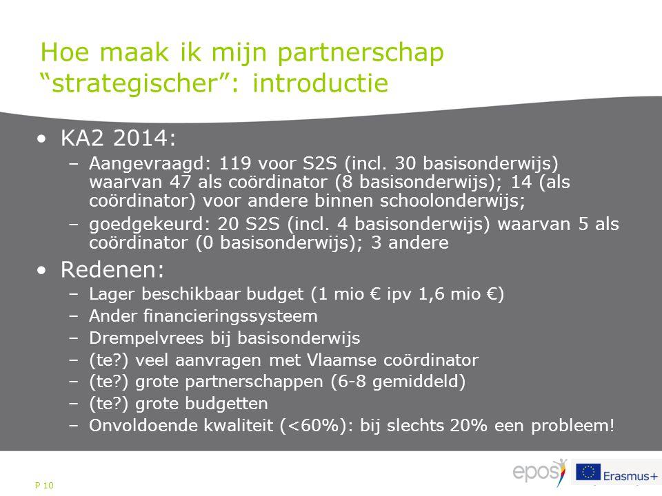 """P 10 Hoe maak ik mijn partnerschap """"strategischer"""": introductie KA2 2014: –Aangevraagd: 119 voor S2S (incl. 30 basisonderwijs) waarvan 47 als coördina"""
