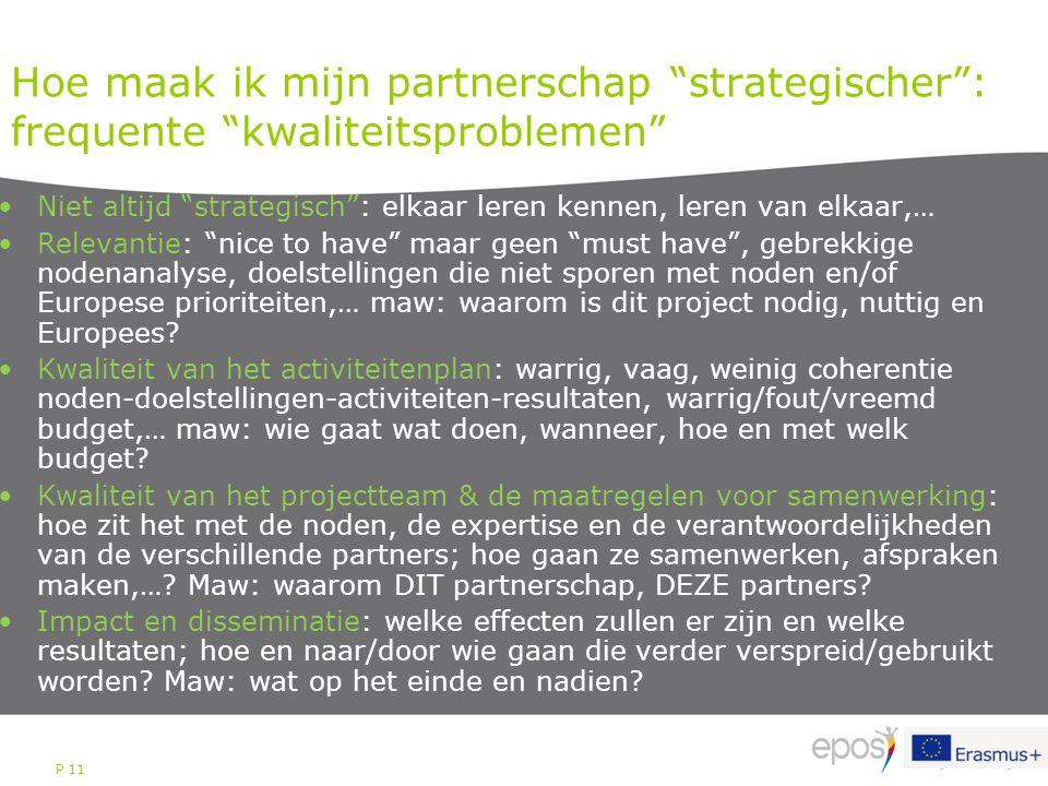 """P 11 Hoe maak ik mijn partnerschap """"strategischer"""": frequente """"kwaliteitsproblemen"""" Niet altijd """"strategisch"""": elkaar leren kennen, leren van elkaar,…"""