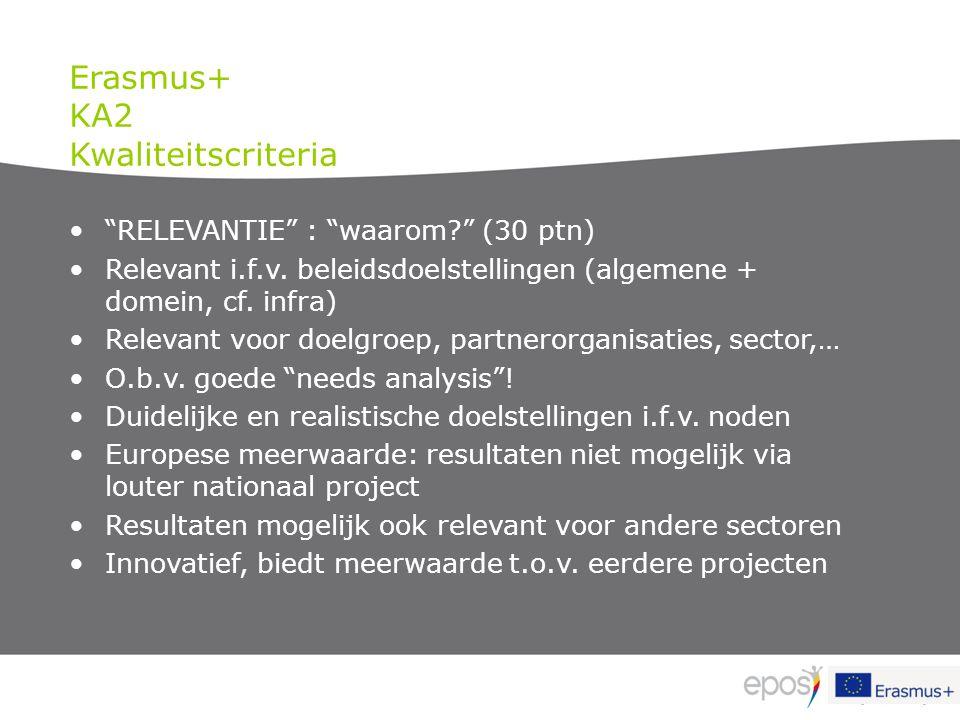 """""""RELEVANTIE"""" : """"waarom?"""" (30 ptn) Relevant i.f.v. beleidsdoelstellingen (algemene + domein, cf. infra) Relevant voor doelgroep, partnerorganisaties, s"""