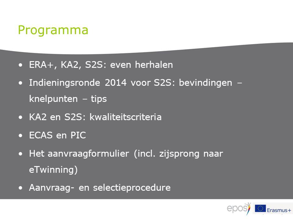 Programma ERA+, KA2, S2S: even herhalen Indieningsronde 2014 voor S2S: bevindingen – knelpunten – tips KA2 en S2S: kwaliteitscriteria ECAS en PIC Het