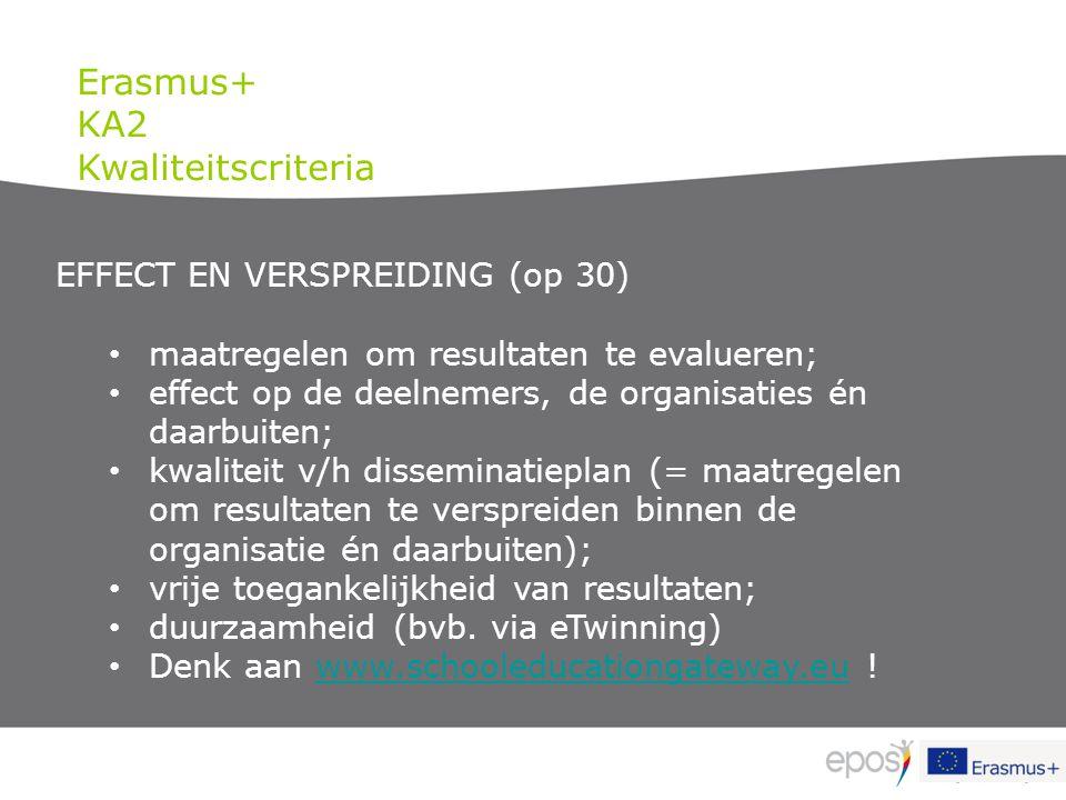 EFFECT EN VERSPREIDING (op 30) maatregelen om resultaten te evalueren; effect op de deelnemers, de organisaties én daarbuiten; kwaliteit v/h dissemina