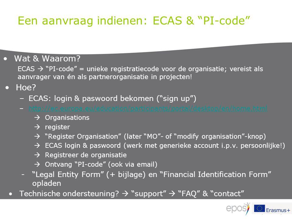 """Een aanvraag indienen: ECAS & """"PI-code"""" Wat & Waarom? ECAS  """"PI-code"""" = unieke registratiecode voor de organisatie; vereist als aanvrager van én als"""
