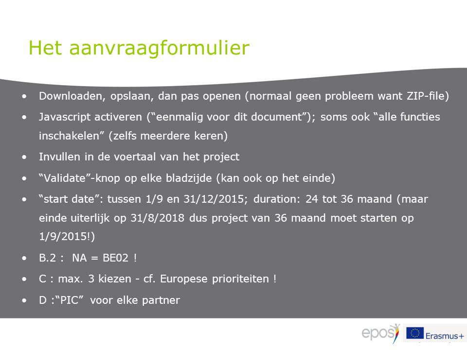 """Het aanvraagformulier Downloaden, opslaan, dan pas openen (normaal geen probleem want ZIP-file) Javascript activeren (""""eenmalig voor dit document""""); s"""