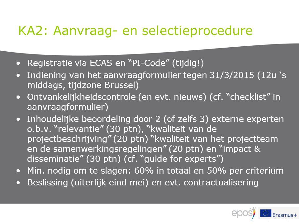 """KA2: Aanvraag- en selectieprocedure Registratie via ECAS en """"PI-Code"""" (tijdig!) Indiening van het aanvraagformulier tegen 31/3/2015 (12u 's middags, t"""