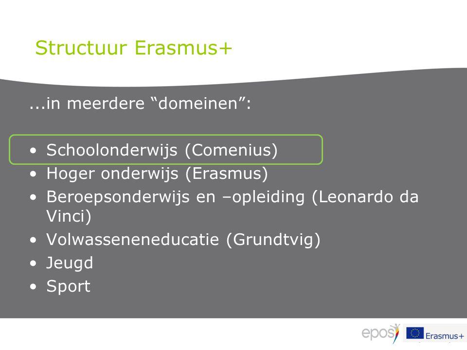 """Structuur Erasmus+...in meerdere """"domeinen"""": Schoolonderwijs (Comenius) Hoger onderwijs (Erasmus) Beroepsonderwijs en –opleiding (Leonardo da Vinci) V"""