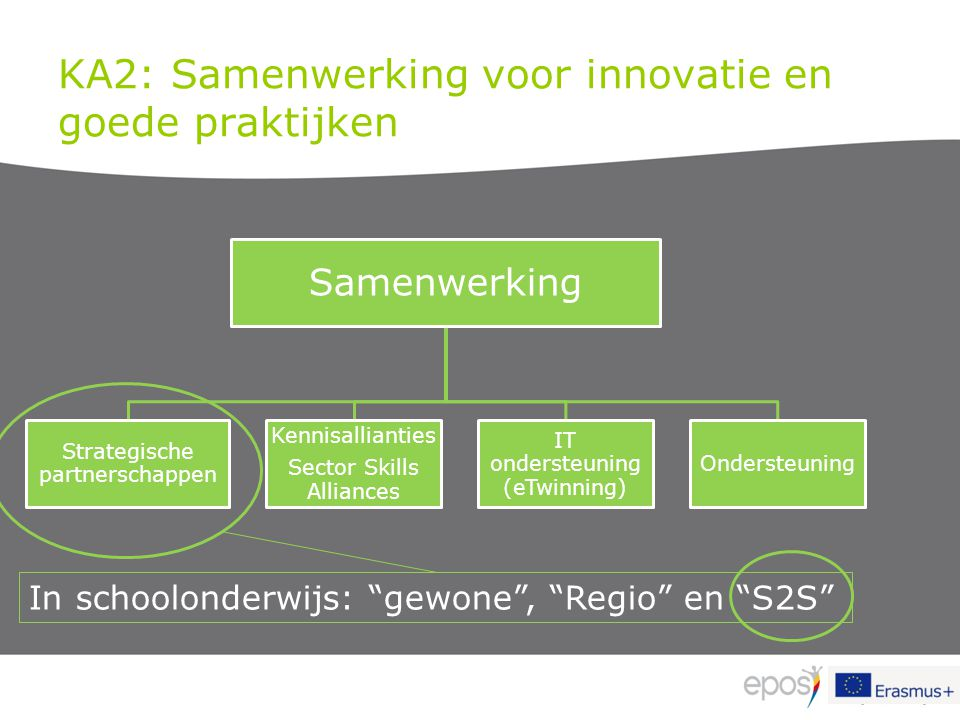 KA2: Samenwerking voor innovatie en goede praktijken Samenwerking Strategische partnerschappen Kennisallianties Sector Skills Alliances IT ondersteuni