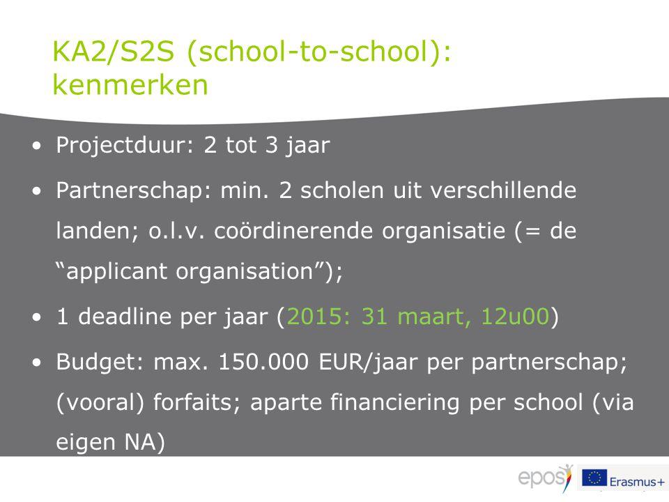 KA2/S2S (school-to-school): kenmerken Projectduur: 2 tot 3 jaar Partnerschap: min. 2 scholen uit verschillende landen; o.l.v. coördinerende organisati